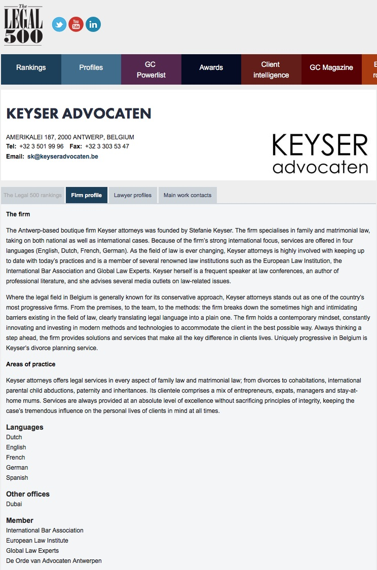 Keyser advocaten in de Legal 500